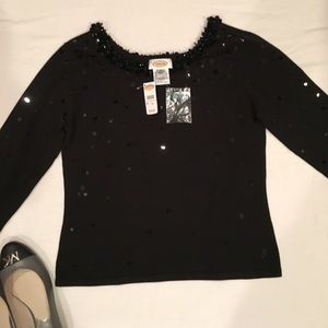 🌺NWT Talbots Silk Sequin & Bead Sweater Top.